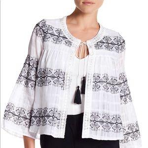 Nanette Lepore Embroidered Gauze Cardigan